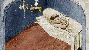 Iluminación satírica del Decamerón de Bocaccio en que, si bien se cumple con la postura recomendada, el hombre es un monje