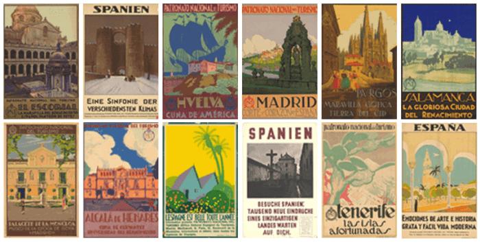 carteles art decó del Patronato Nacional de Turismo en 1929 para promocionar España en el extranjero